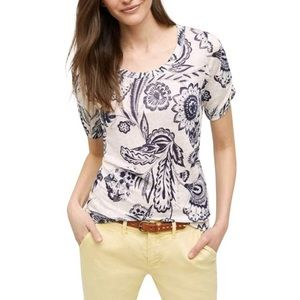 Anthropologie Meadow Rue Floral White & Navy Top